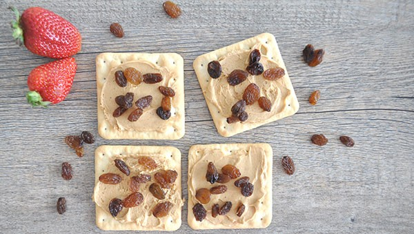 Healthy-after-school-snack-idea,-peanut-butter-and-sultana-on-sao