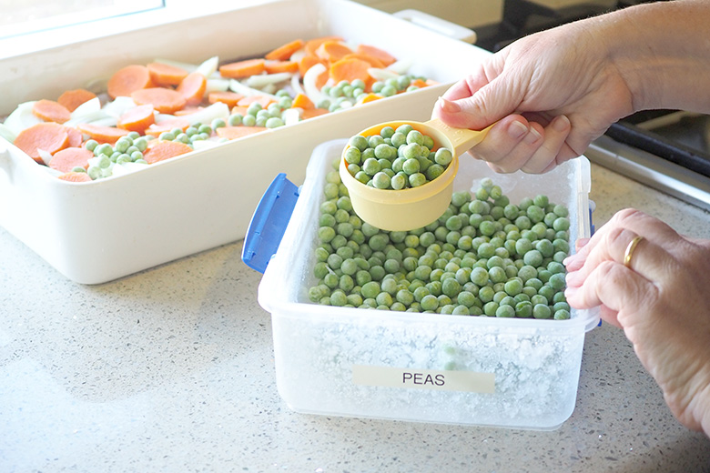 Peas and sausages - meal idea for kids