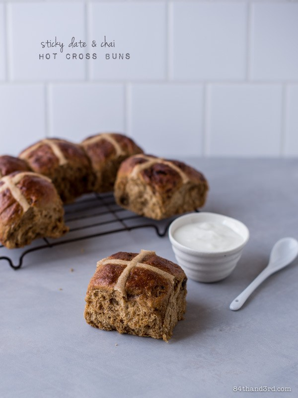 sticky date and chai hot cross buns
