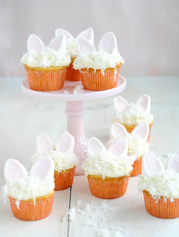 how to make marshmallow bunny ears cupcakes