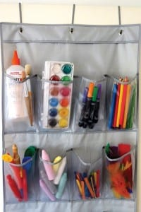 Storage idea for kids art and craft supplies