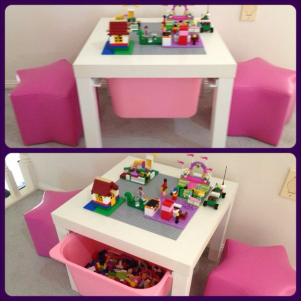 20 lego storage ideas for girls the organised housewife for Ikea lack lego table