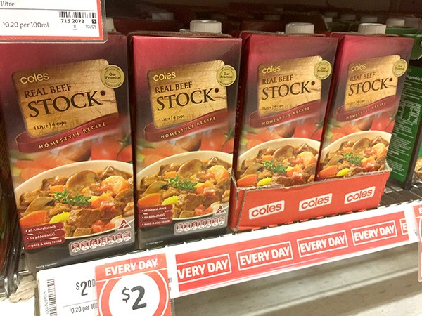 coles everyday low prices - beef stock
