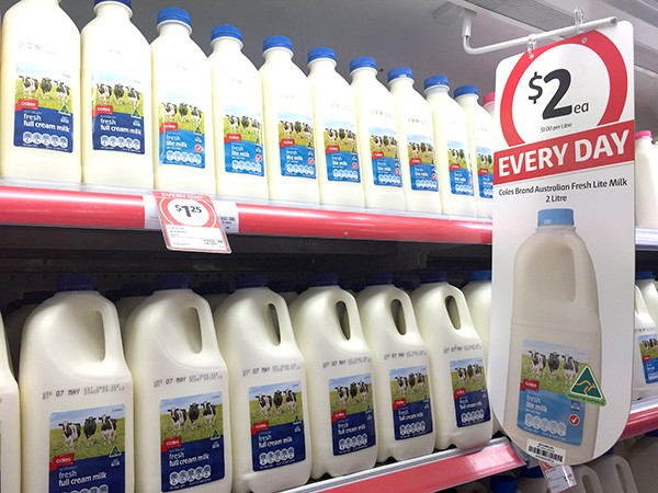 coles everyday low prices - milk