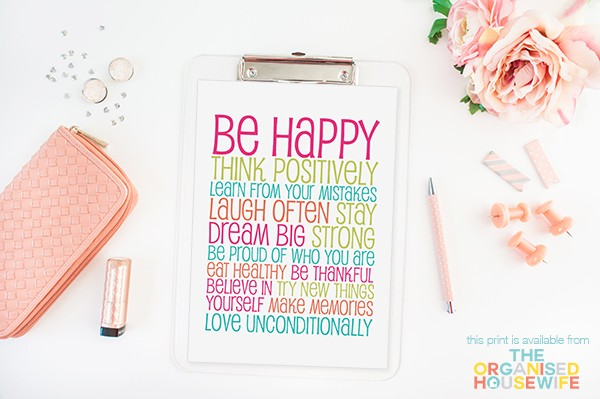 Be Happy & Think Positively PRINT - Design 2