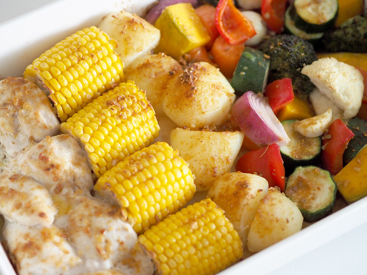 Chicken roast and veggie meal