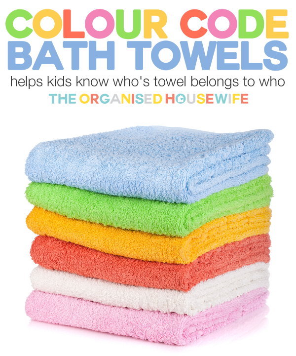 Colour Code Kids Bath Towels | The Organised Housewife