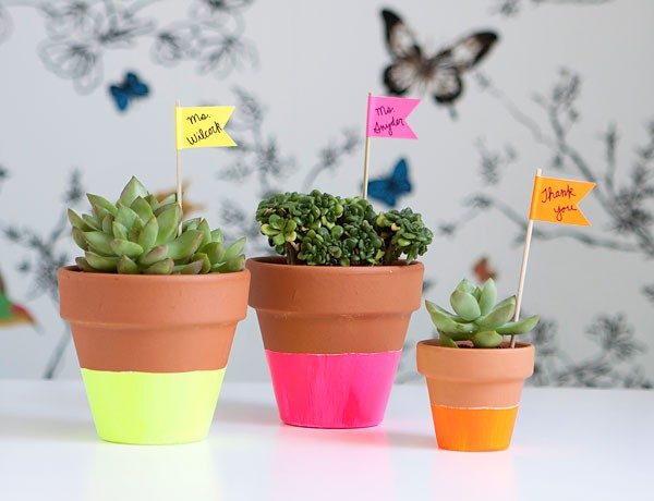 Neon Dipped Pots