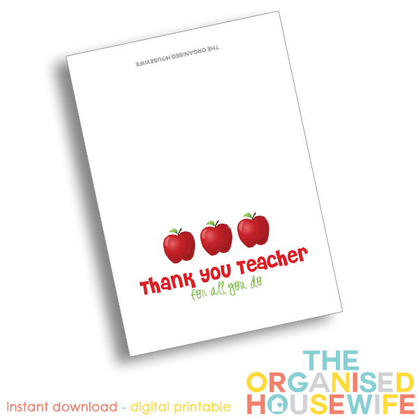 picture regarding Teacher Appreciation Card Printable named Printable - Instructor Appreciation Card - The Organised Housewife