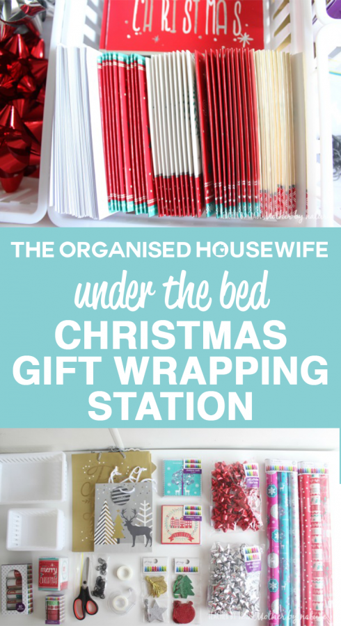under the bed christmas gift wrapping station pin