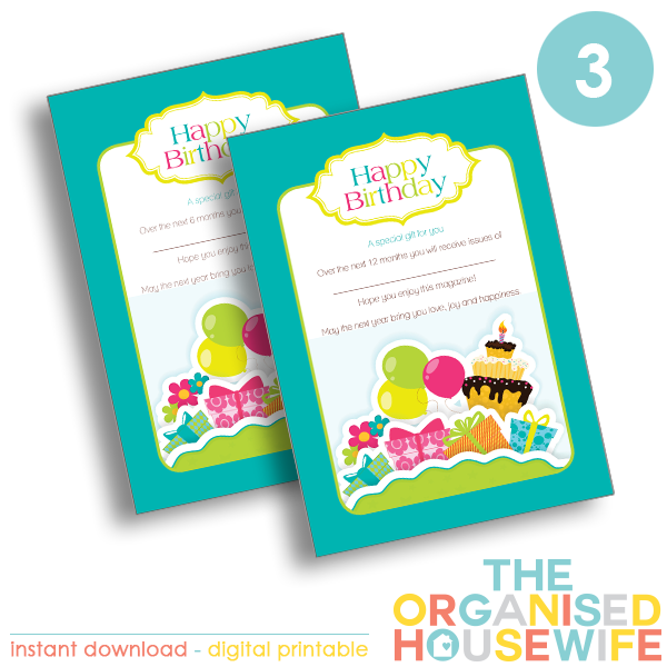 {The Organised Housewife} Brithday magazine Subscription - Design 3