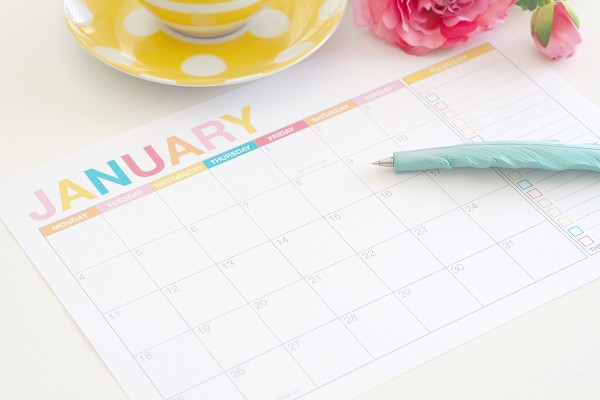 2016 Monthly Calendar with School and Public Holidays