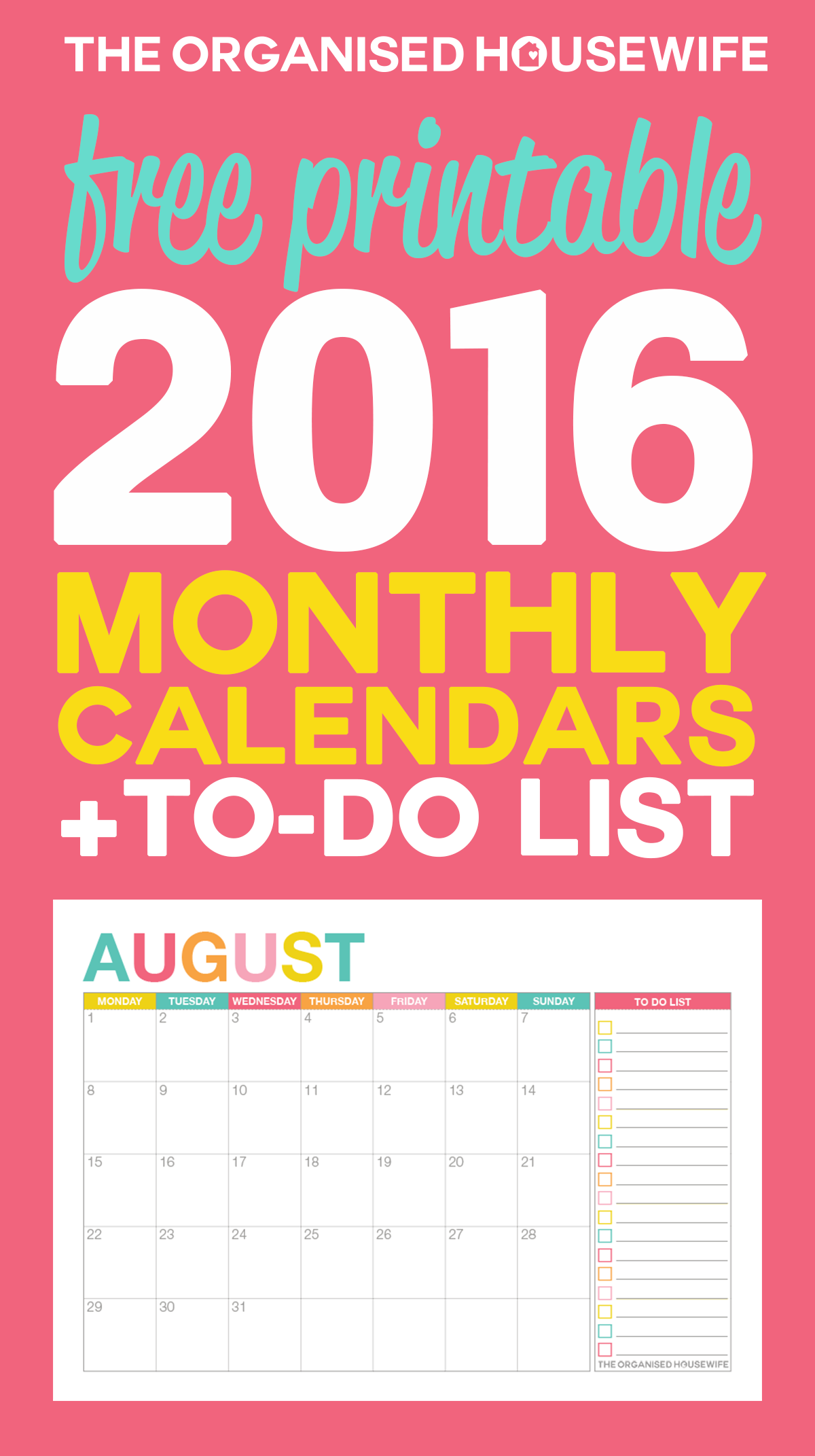 Free Printable 2016 Monthly Calendar with To-Do List – The Organised ...