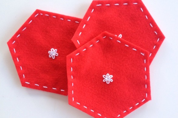 Hexagon Stitched Felt Coasters