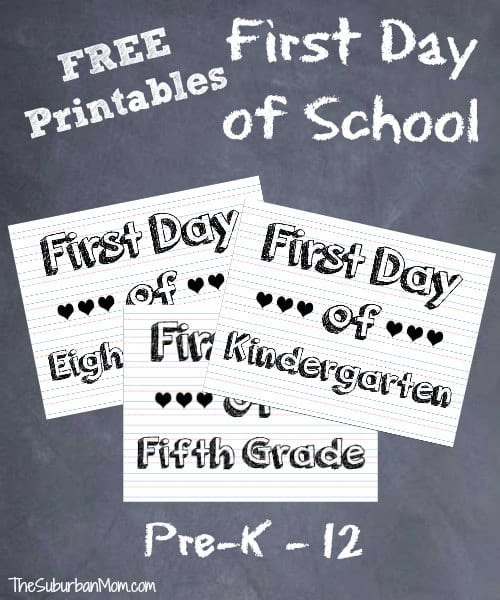 FREE First Day of School Printables 12