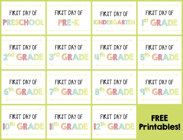 FREE First Day of School Printables 7
