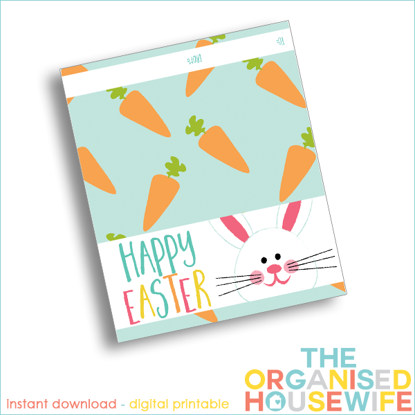Happy easter printable easter bag topper the organised housewife this fill clear little bags with easter eggs and add a fun easter bag topper negle Gallery
