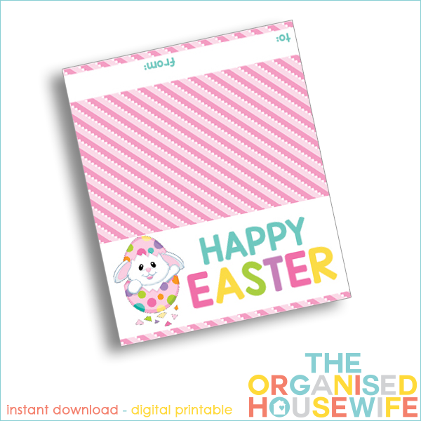 Happy easter printable easter bag topper the organised housewife this fill clear little bags with easter eggs and add a fun easter bag topper this negle Images