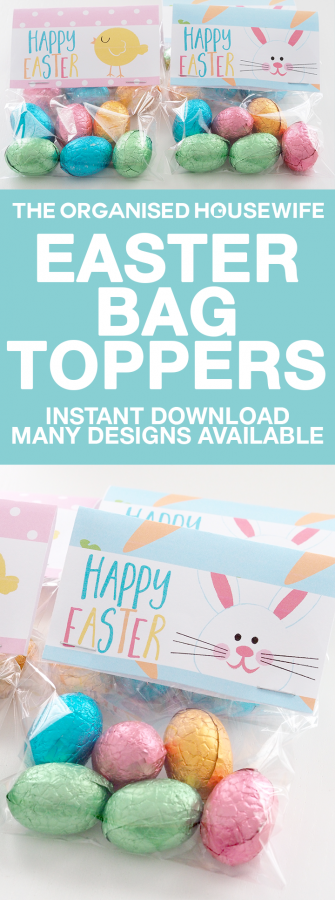 Happy easter printable easter bag topper the organised housewife fill clear little bags with easter eggs and add a fun easter bag topper this negle Image collections