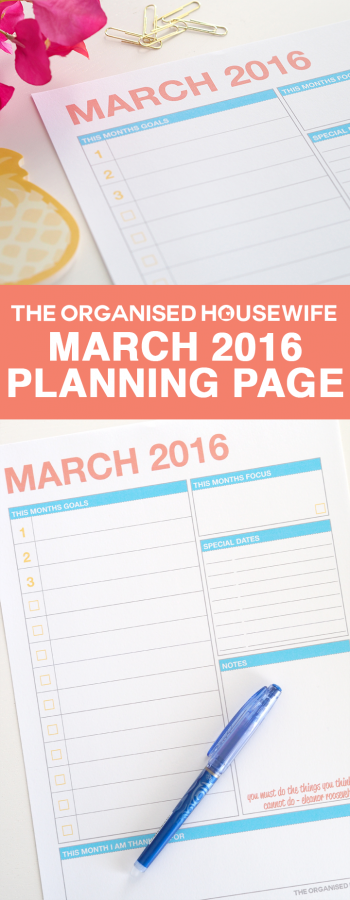 March 2016 Monthly Planning Page PIN