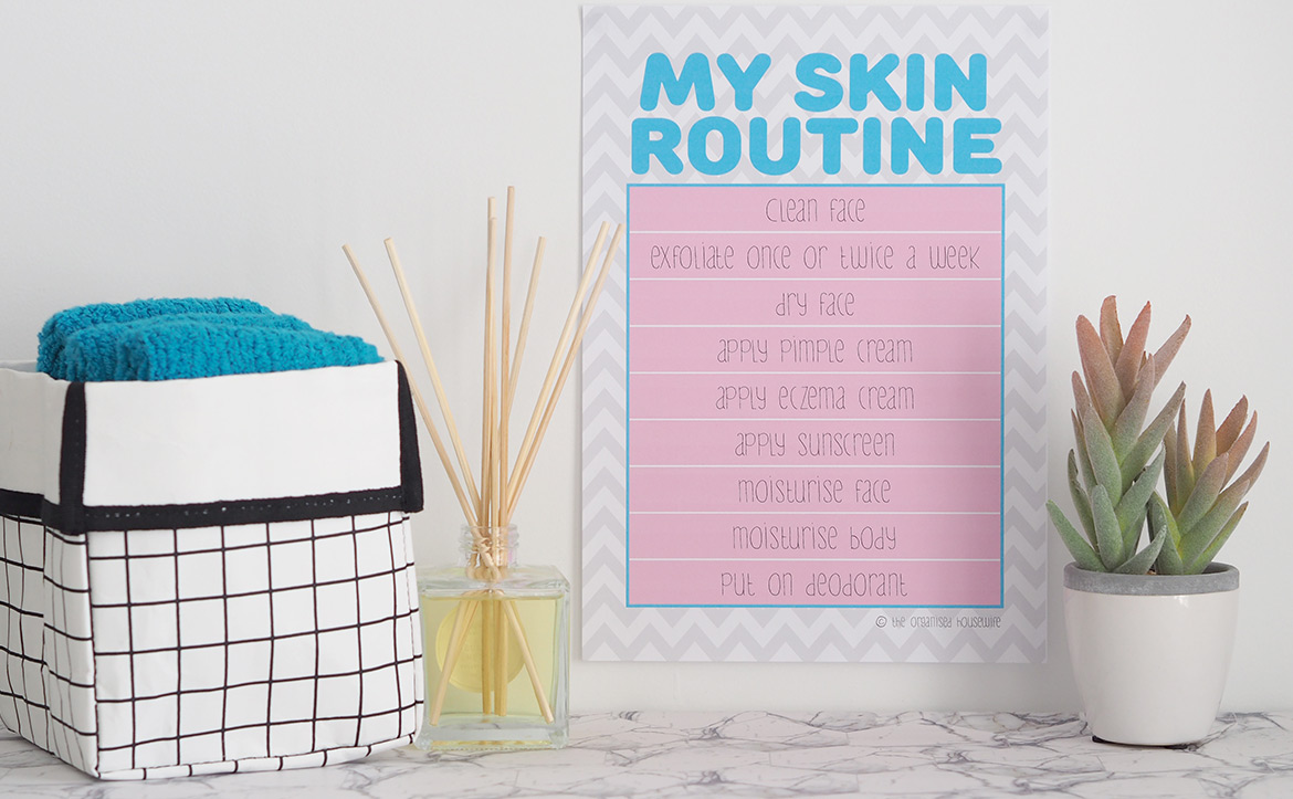 A chart to help tweens and teens, to learn the process of a good kids skin care routine.