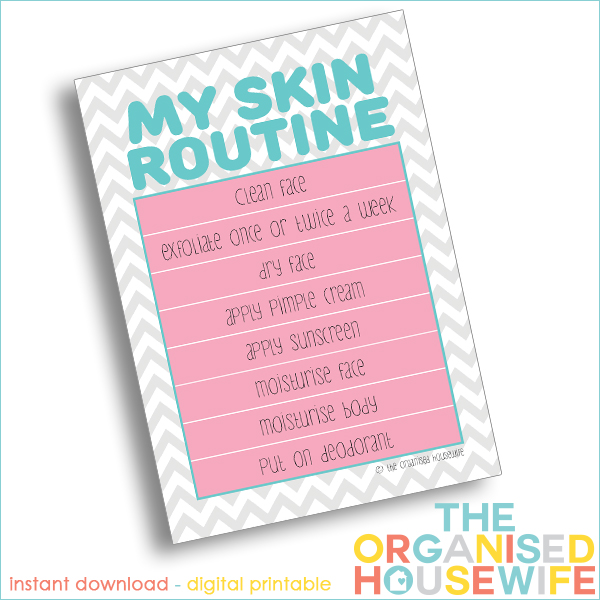 Printable - Kids Skin Care Routine Charts - The Organised ...