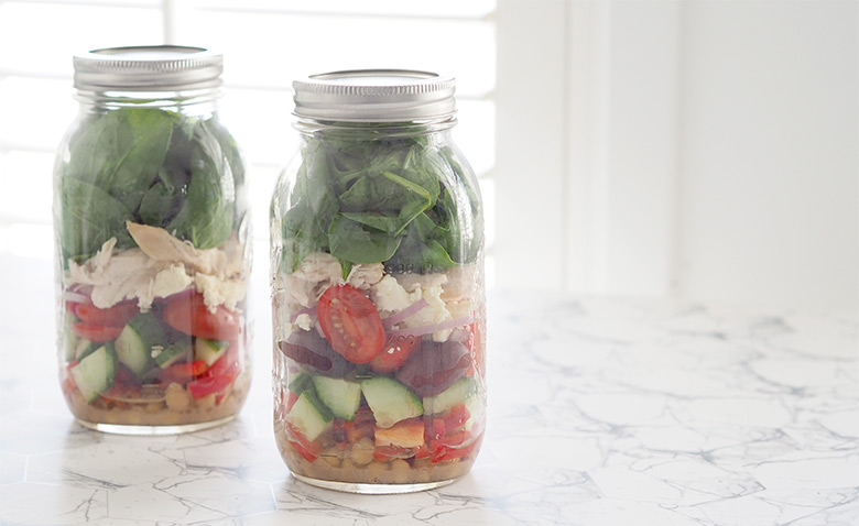 Mason Jar Salad is quick and easy to prepare, being stored in the jar helps it stay fresh for up to 5-7 days, perfect for weekday lunches.