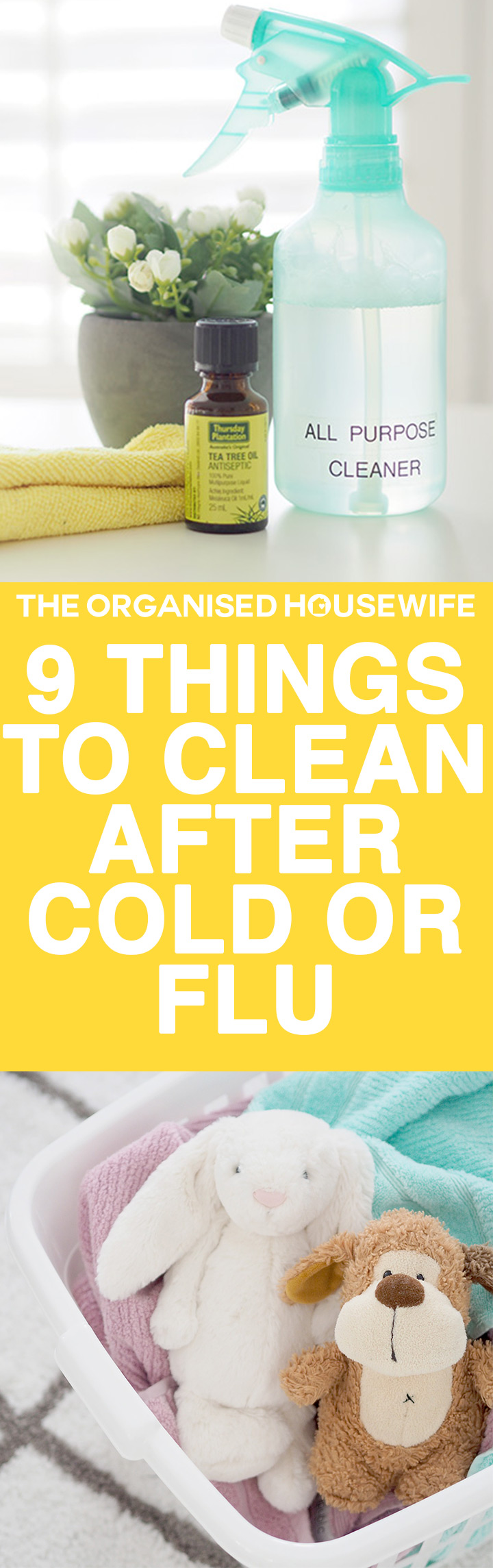 Has the winter cold and flu bug hit your house? When we have someone sick in the house, I try to avoid exposing it to other family members, there are things to clean and disinfect during and after to help prevent the spread of germs and bacteria. Try my very simple, inexpensive and effective homemade options.