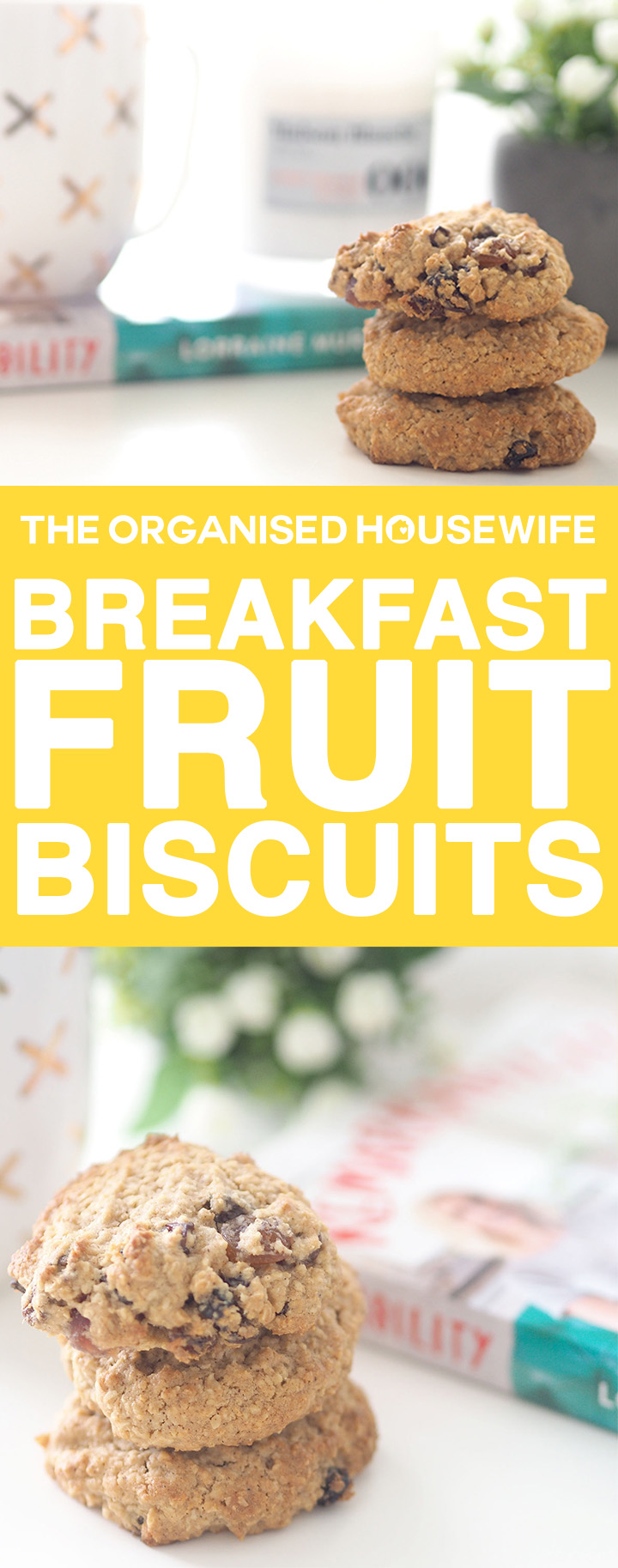 Breakfast fruit biscuits are a great breakfast snack for busy mornings filled with fruit and wholemeal flour.
