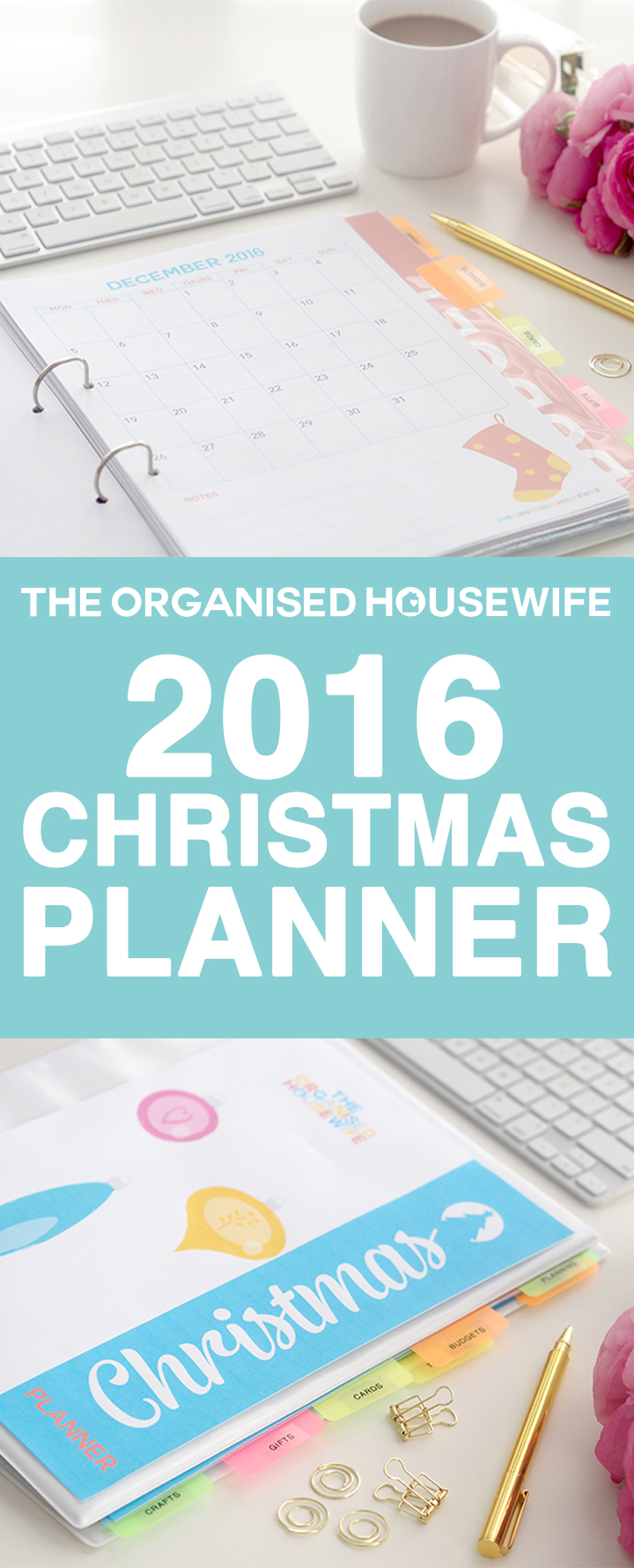 The Organised Housewife 2016 Christmas Planner has a whole new look! With 70+ pages to keep all your checklists, planners, budget, recipes ideas and more together in one folder. No more losing notes scribbled on the back of envelopes, receipts somewhere on your office desk, this planner will help you cut through the clutter. This planner is an instant download so you can start planning and organising everything Christmas today.