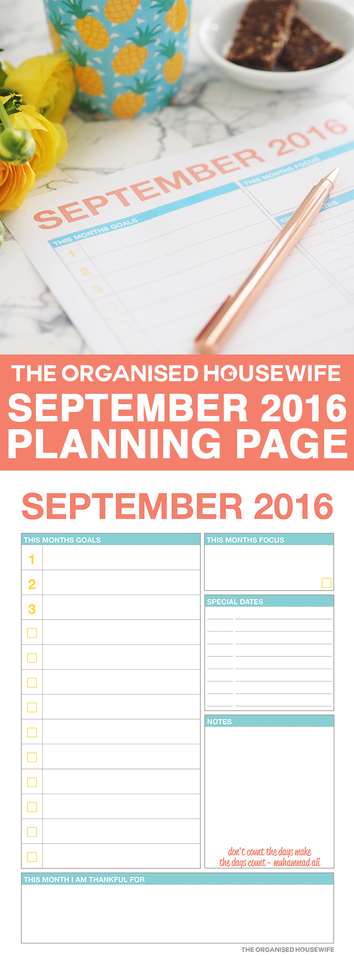 I'm sharing my goals for the month, plus I've created a FREE printable September 2016 planning page which you can use to prepare for your month and get organised. Setting your goals and priorities, with a little quote for inspiration.