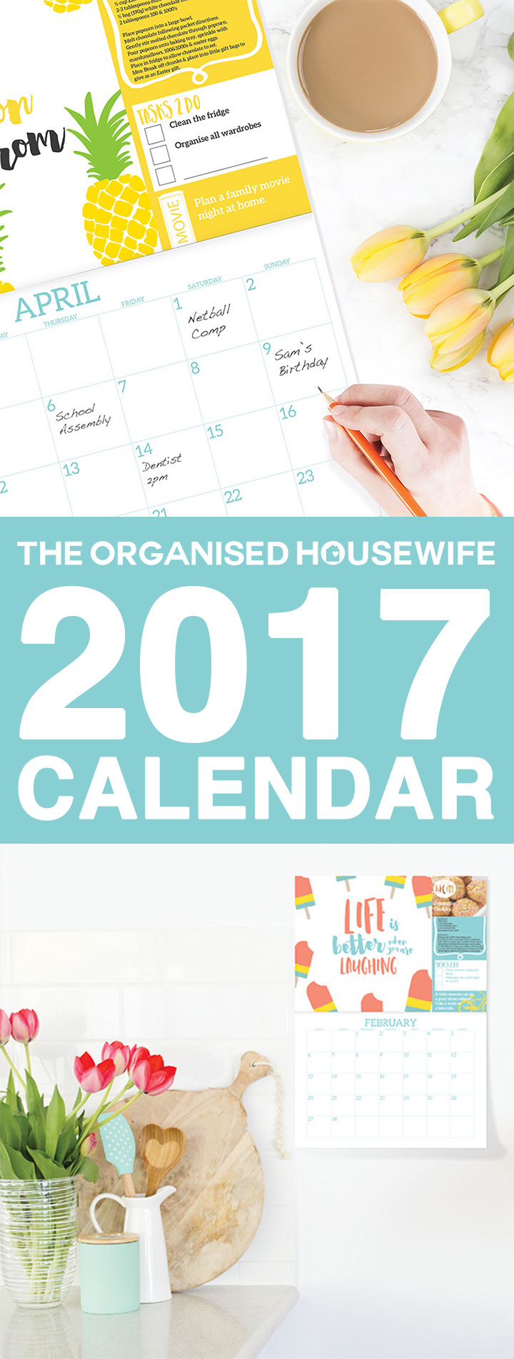 My 2017 calendar is inspiring and vibrant, because being organised shouldn't be boring! Filled with bright and colourful designs to inspire and motivate you. I want you to look at the calendar and feel encouraged to achieve new things! Each month has a unique feel and features fun and quirky graphics.