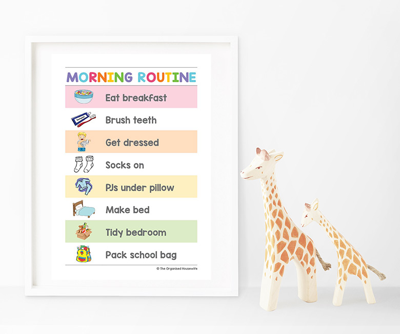ROUTINE CHARTS - mornings can be like ground-hog day. If you find you're constantly repeating yourself asking or yelling at the kids if they are dressed, have they brushed their teeth? This can make a stressful start to the morning. Eliminate the nagging and yelling with these routine charts which lists the expectations of the kids each morning. Laminate or frame it and place in an area for easy viewing.