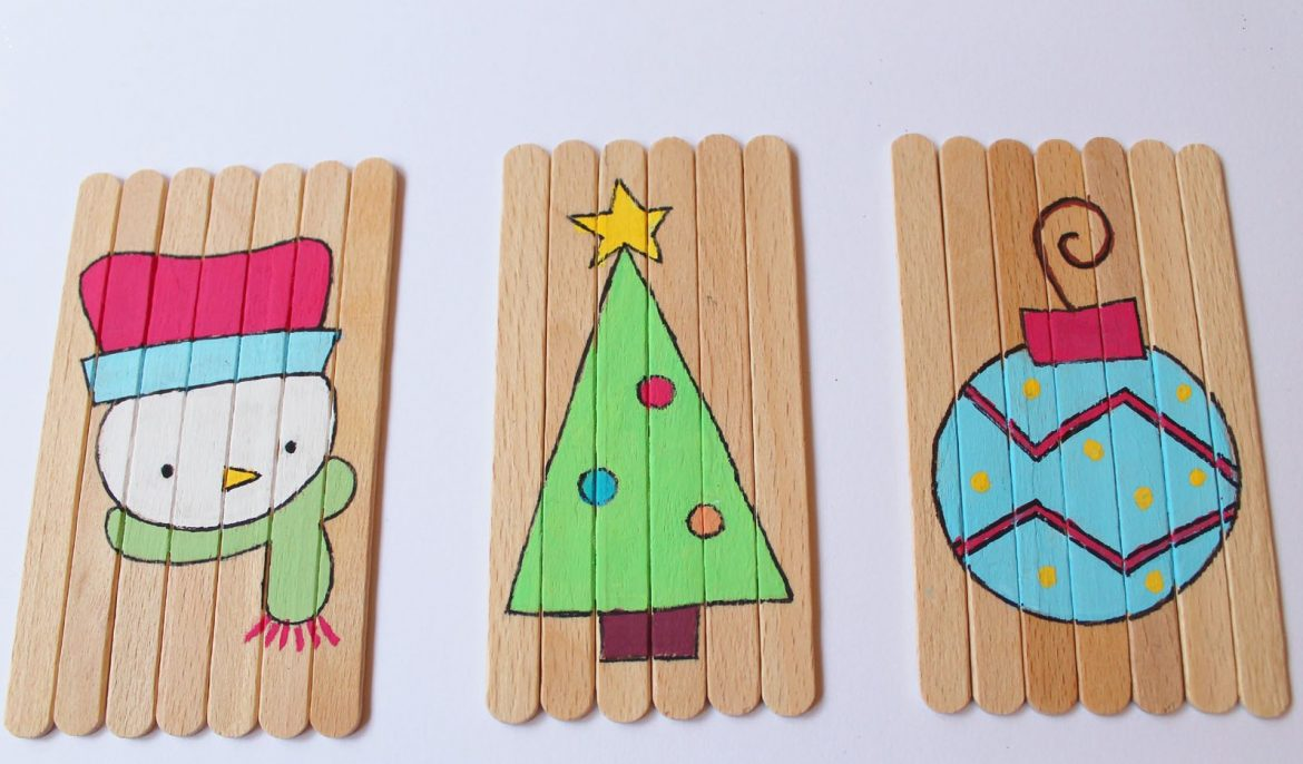 CHRISTMAS CRAFT IDEA - DIY CHRISTMAS PUZZLES - Make puzzles with popsicle sticks or bought craft sticks and paint your own design. These are cute and simple.