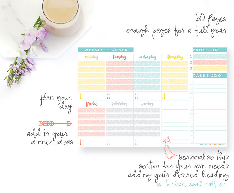 WEEKLY PLANNER PAD - My undated weekly planner pad has 60 tear off pages, enough space to add appointments, deadlines and things to do and plan your dinner ideas. It also has section which you can personalise yourself. i.e. to call, to email, a shopping list, etc. It's up to you!