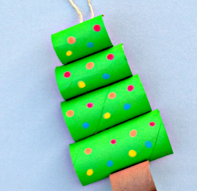 CHRISTMAS CRAFT IDEA - TOILET PAPER ROLL CHRISTMAS TREE - We love turning our recycled toilet paper rolls into crafts. It makes for a very inexpensive craft project!