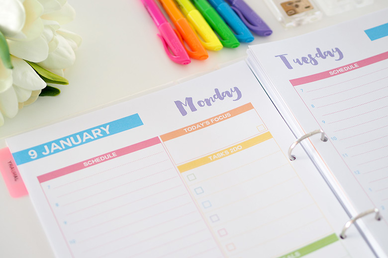 The 2017 Daily Planner will help you plan each day efficiently. Each day of the year has its own page, with day and dates, where you can add in your appointments, focus task and list of more tasks. This is really helpful when planning in advance.
