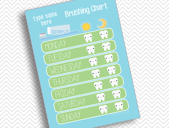 Teach child to brush teeth with printable brushing chart