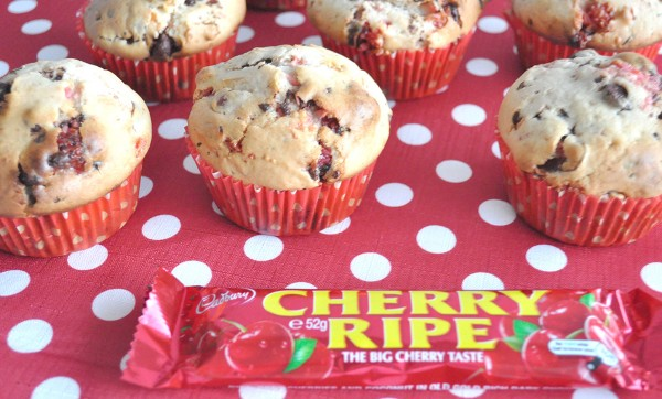 CHERRY RIPE MUFFINS - These are so good and they freeze really well too. You could add any chocolate bar to this recipe in place of the cherry ripe and cherries. Try Mars bar with some choc chips, or even some peppermint crisp.