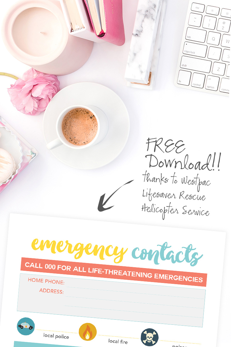 In panic mode, many people freeze and don't know what to do next. By having an Emergency Contacts Printable on hand, it will make it easier for you or your kids to take away one less worry and simply find the desired emergency contact you require so you don't waste any time when it's important.