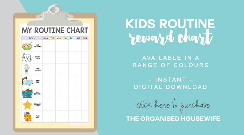 Use this routine chart for kids to remind your child of the tasks they need to do each morning, placing a star or tick next to the task once complete.