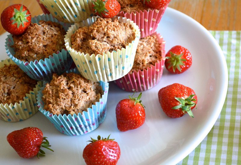STRAWBERRY MUFFINS - These wholesome muffins are filled with a hidden strawberry heart centre. The beauty is finding a surprise strawberry heart in the centre of these lovely muffins – they are filled with love!