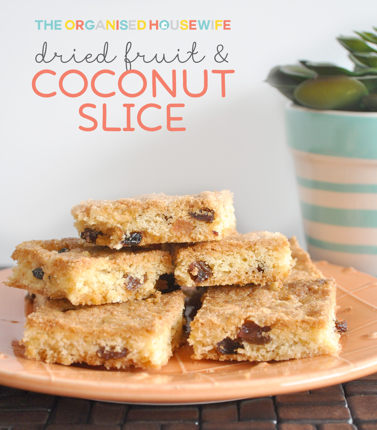 Dried fruit coconut slice the organised housewife i love having slice in my house as its the perfect snack for morning or afternoon fandeluxe PDF