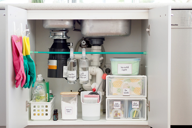 Under sink storage ideas for kitchen sink.