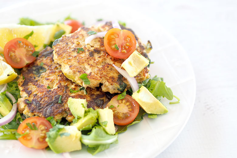 These Salmon Quinoa Fritters are perfect for either lunch or dinner, served with salad. Make a few smaller bite-size fritters to add to the kids' lunchboxes to get some Omega-3 and protein!