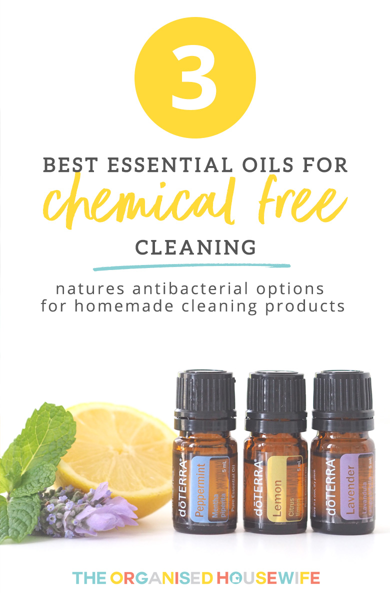 Essential Oils are one of natures antibacterial options for homemade cleaning recipes. Here I share the benefits or 3 Essential Oils and how you can use them in your home for cleaning.