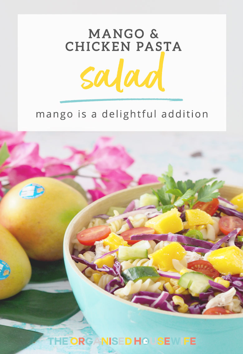 There is no limit on how you can use Mangoes and recently when I asked my readers how they like to use Mangoes the possibilities were endless. My Mango & Chicken Pasta Salad is perfect on it's own for lunch or dinner.