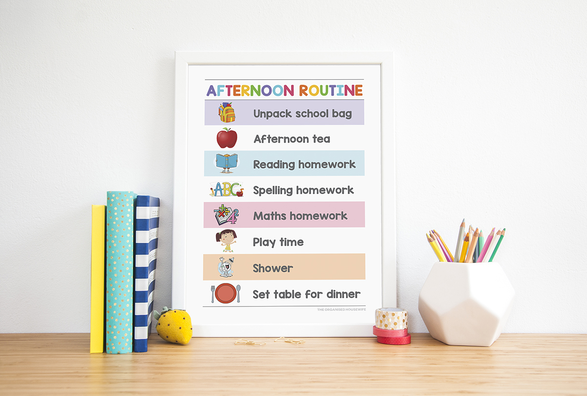 A4 framed afternoon routine chart for children's bedroom