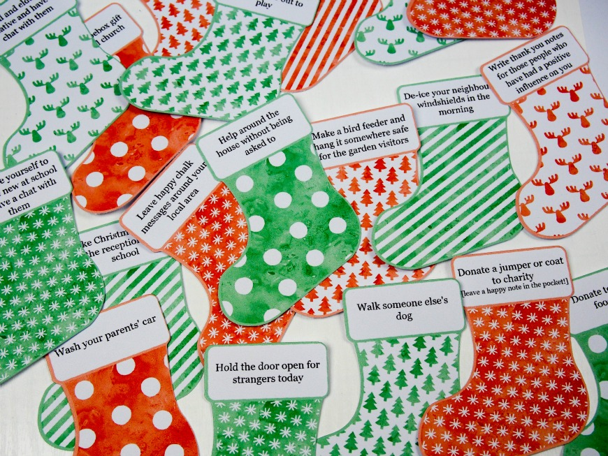 An Advent calendar is a special calendar used to count down the days with anticipation to Christmas. Some Advent calendars hold chocolates, sweets, a small gift, a poem, or a kind gesture and here I share over 100 ideas of how to fill your calendars with a kind gesture.