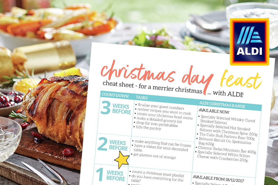 Give yourself the gift of a stress-free, merrier Christmas by planning and preparing your Christmas feast early. Put this FREE Christmas Day Feast Cheat Sheet on your fridge to guide you through December and to help you remember when the latest ALDI Australia products are available.